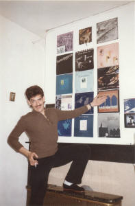 In front of my record wall. Brussels, 1985.